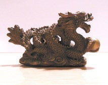 Brass Dragon STATUE, Brass snake DRAGON w Pearl, Water Dragon Statue, Detailed Buddhist Dragon, sky Dragon figure w Details, Vintage Dragon