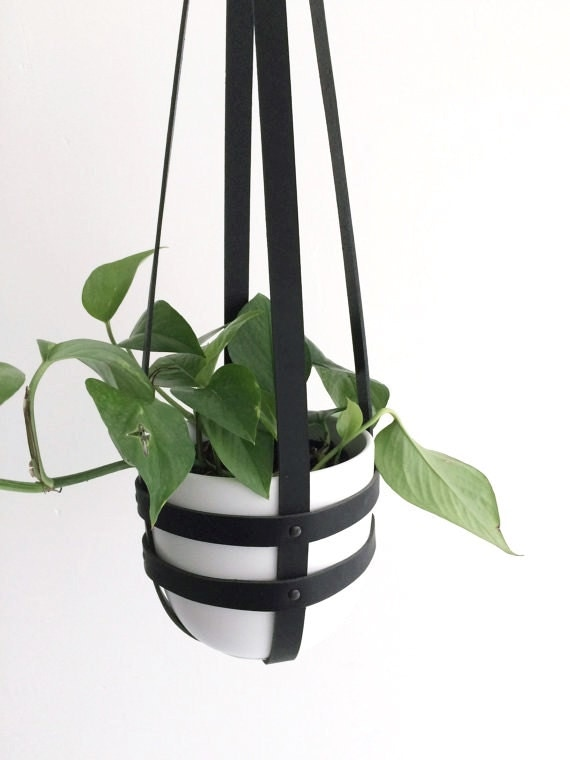 Minimal Leather Plant Hanger Indoor Ceiling Planter By