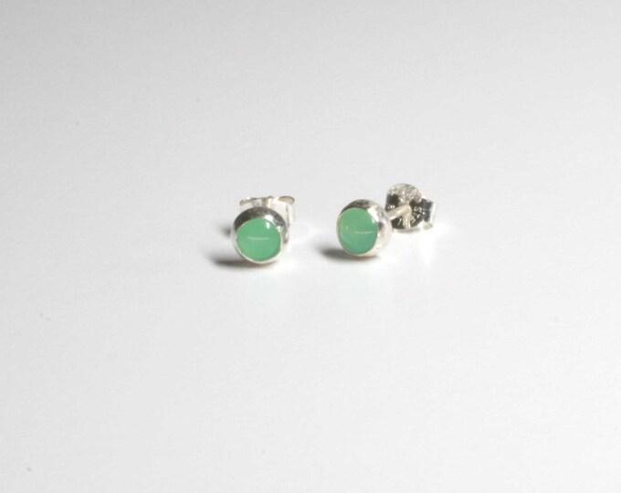 Chrysoprase Sterling Silver Stud Earrings - 5 mm Blue Green Glowing Gemstone - Wild Grace Jewelry