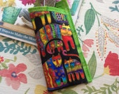 Eye Glasses Case Quilted  in Laurel Burch Cat Fabric
