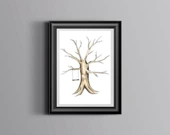 Instant Download - Hand Painted Fingerprint Tree! Original Wedding Guest Book Alternative!