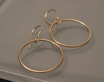 10K/14K Circle Earrings, 10K Hoop Earrings, 14k Gold Hoop Earrings, 14k Dangle Earrings, 14k Earrings, 14k Endless Hoop Earrings, 14k Hoops