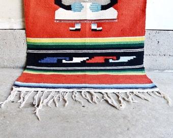 SALE   Vintage Colorful Aztec Rug   Vintage Mexican Aztec Rug   Mexican  Serape Wool Fringe