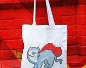 Super ferret tote bag, ferret bag, ferret gifts, ferret accessories, Cute tote bags