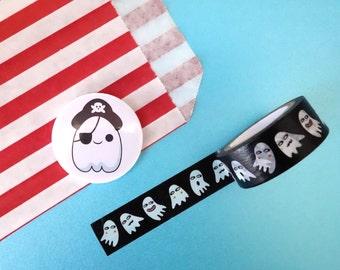 Ghost badge, pirate badge, kawaii badge, ghost pin, halloween badge