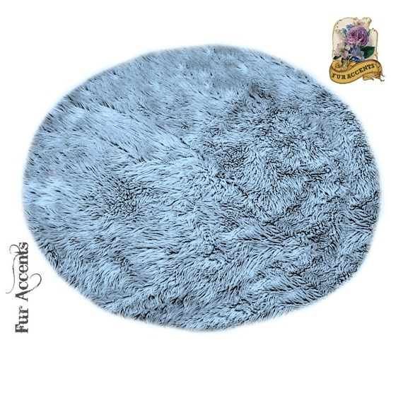 Classic Round Sheepskin Area Rug Shaggy Faux Fur By FurAccents