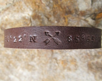 Custom Coordinates - Mens Womens Personalized Leather Bracelet - Latitude Longitude GPS Coordinates Leather Cuff - Single or Double Arrow