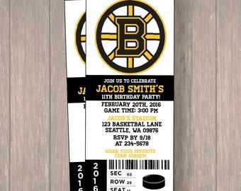 12 BOSTON BRUINS Birthday Invitation, Hockey, Ticket Invitation, Sport,Birthday, Birthday Ticket
