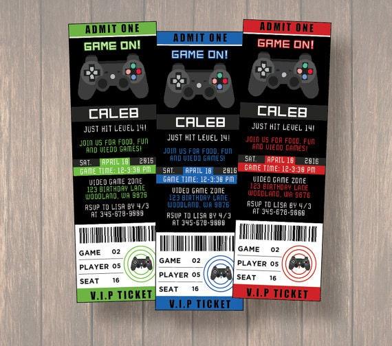 12 video game birthday invitationvideo game ticket invitation il570xn stopboris Image collections
