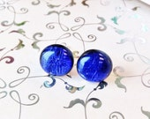 Dichroic Glass Stud Earrings | Blue Fused Glass Earrings | Blue-ish Purple Glass Studs | Blue Dichroic Glass Studs | Sterling Silver Posts