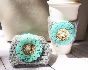 Crochet Coffee Cozy ~ Mint Mum Coffee Cozy