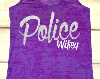 Police Officer's Wife Tank Top. Police Wife. Police Girlfriend. Police. Cops. Workout Tank. Fitness Burnout Tank. Law Enforcement