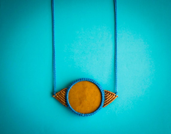 Mustard macrame necklace