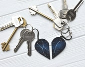 Set of keychains Half heart keychain Boyfriend gift Couples set Anniversary gift His and her keychain Customized keychain Sister gift xmas
