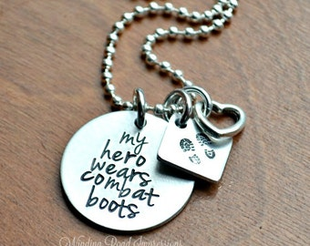 My Hero Wears Combat Boots- Hand Stamped Multi-Shape Necklace