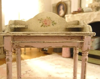 French miniature vanity in wood, Shabby PINK, Dolls' collectible Furniture for a French dollhouse, winter garden, Greenhouse in 1:12th scale