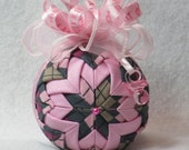 "Baby Girl Quilted Ornament - no sew - pink argyle fabric, with pink sparkle accent, pink bow, ""It's A Girl"" ribbon, pink pacifier charm"