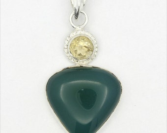 Wonderful! New Green Onyx,Citrine 925 Sterling Silver Pendant Fashion Jewelry A0544