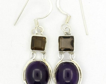 Awesome! New Purple Amethyst,Smoky Topaz 925 Sterling Silver Earrings Jewelry A2692