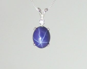 Genuine blue star sapphire ring sterling silver blue star 3 carat blue star sapphire necklace sterling silver cornflower blue star sapphire necklace silver aloadofball Gallery