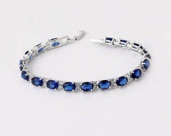 Blue Sapphire Bracelet 14K White Gold Plated