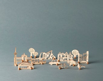 Stand-Up Toronto - Lasercut pop-out wooden cityscape