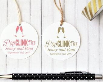 Personalised Wedding Favor Tag, Pop Clink Fizz, Engagement Gift Tag, Champagne Glass, Round Gift Tag, Circle Gift Tag, Custom Colours