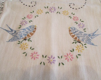 SWEET vintage Hand Embroidered DRESSER SCARF with Blue Birds 40x13.5 D-102