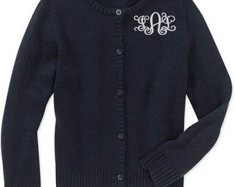Monogrammed Sweater Kids Child Girls Cardigan Monogram Uniform White Navy