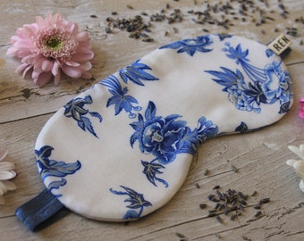 Blue and White floral print sleep mask