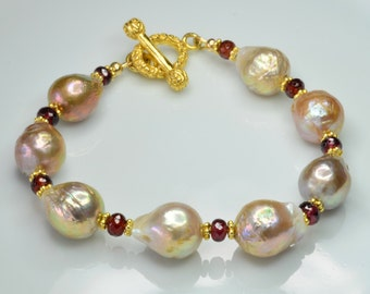 Kasumi-like Freshwater Pearl with Pyrite Garnet Gold Vermeil Bracelet