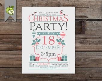 Christmas Party Invitation, modern, robin, invite, Printable Christmas Invitation, 10x8, 5x7 or 4x6, DIY Holiday Printable Invitation,
