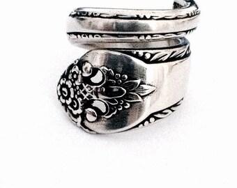 Vintage Silver Spoon Ring circa 1937 - Handmade Spoon Jewelry - Silverware Jewelry