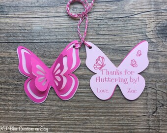 Butterfly Thank You Tags, Favor tags, Gift tags - Shades of Pink: Hot Pink & Light Pink - Personalized  - baby shower, birthday - set of 8