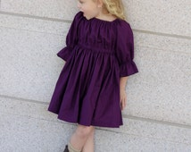 Baby girl Peasant Dress - Toddler 3/4 sleeves Outfit - Girls plum peasant  Dress - Baby Plum Birthday Dress - Toddler Party Dress-Baby Dress