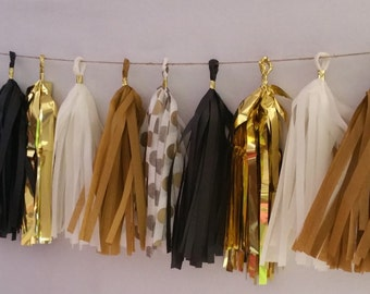 New Year's Eve Black and Gold 20 Tassel Tissue Paper Garland, Black and Gold Party, Tissue Tassels, Wedding Decorations, New Years Eve