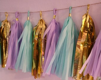 Lavender and Aqua,  20 Tassel Tissue Paper Garland, Paper Party Decorations, Tissue Tassels, Happy Birthday Party, Wedding Decorations