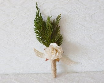 Winter Wedding Boutonniere, natural buttonhole, groomsmen button hole, winter weddings, woodland boutonniere, (1x buttonhole)