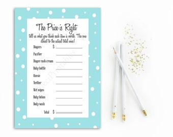 Price is Right Baby Shower Game Printable, Blue and White Price is Right, Polka Dots, The Price is Right Game, Boy Baby Shower Games