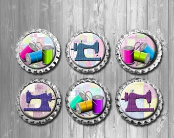 Sewing Quilting Bottle Cap Magnets - Set of 6