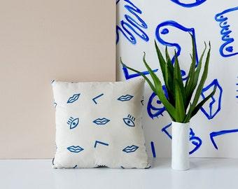Confetti Face Pillow Cover - Tan & Blue - 16x16