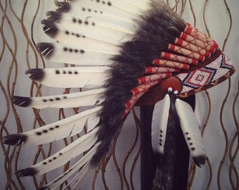 X06 Three colors Black and White indian Feather Headdress / native american Style Warbonnet ..
