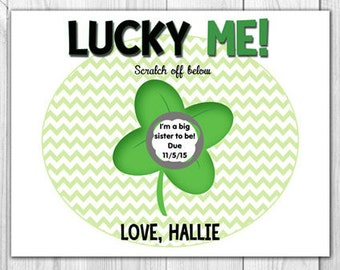 Lucky Pregnancy Announcement | Scratch Off Card (4 Cards and 4 Envelopes)