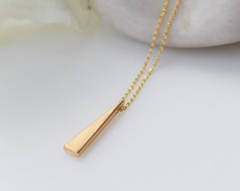 Gold Triangle Necklace, Gold Jewelry, Triangle Pendant, Gold Necklace