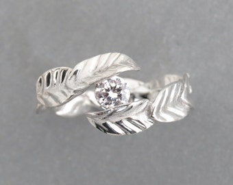 Leaf engagement ring with diamond, Unique engagement ring, Diamond Ring in 14k solid gold, Solitaire ring, Unique Diamond Ring, Leaves ring.