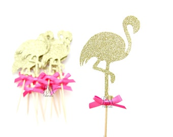 12 Gold Glitter Flamingo Cupcake Toppers With Fuchsia Bows - Summer Cupcake Toppers, Summer Birthday, Tropical Party, Flamingo Party Decor