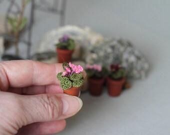 Miniature artificial rosy pink Violet. Crochet potted plant . Crocheted miniature flower violet. Dollhouse miniature. Fairy garden flower