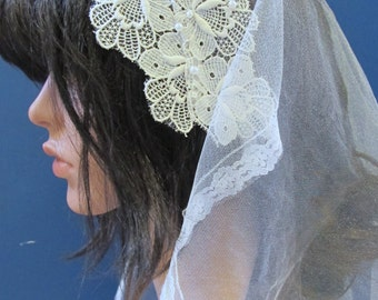 White Mantilla with Vintage Lace and Beading