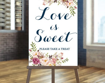 Printable wedding treat sign, Wedding love is sweet sign, Floral wedding sign , Navy and blush wedding sign, Calligraphy favors sign, Favors