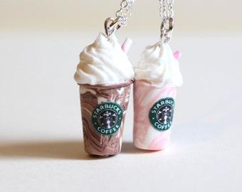 BFF milkshake necklaces, two starbucks coffee polymer clay chocolate vanila and strawberry vanilla drinks, kawaii miniature food jewelry